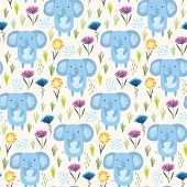 Childish Seamless Pattern With Cute Sketchy Blue Elephants, Colorful Flowers And Grass. Childish Sum poster