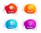 Liquid Badges. Set Of Snowflake, Water Care And Water Bottle Icons. Air Conditioning, Aqua Drop, Min poster