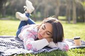 Calm Tranquil Girl Relaxing In Park. Young Woman Lying On Plaid Outdoors With Closed Eyes. Tranquili poster