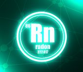Radon Chemical Element. Sign With Atomic Number And Atomic Weight. Chemical Element Of Periodic Tabl poster