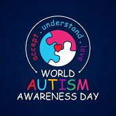 Colorful Design Word World Autism Awareness Day With Round Puzzle. World Autism Awareness Day For Ba poster