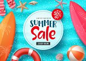Summer Sale Vector Banner Design With Colorful Beach Elements And Sale Text In White Space And Blue  poster