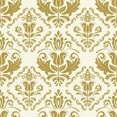 Classic Seamless Pattern. Damask Orient Golden Ornament. Classic Vintage Background poster