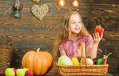 Farm Market Fall Harvest. Child Girl Presenting Harvest Of Her Vegetable Garden On Wooden Background poster