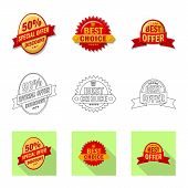 Vector Illustration Of Emblem And Badge Sign. Collection Of Emblem And Sticker Vector Icon For Stock poster