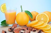 Orange Juice And Oranges With Leaves poster