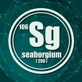 Seaborgium Chemical Element. Sign With Atomic Number And Atomic Weight. Chemical Element Of Periodic poster