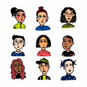 Girl Power Movement. Doodle Style Girl Portraits White Background. Feminist Movement, Protest Action poster