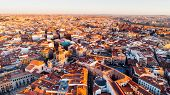 Aerial View Of Madrid La Latina District At Sunset. Architecture And Landmark Of Madrid. Cityscape O poster