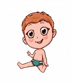 Vector Funny Kid In Anime Cartoon Style Isolated On White poster