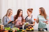 Female Cooking Classroom. Healthy Eating Habit. Dieting Together. Food And Nutrition Tutoring. poster