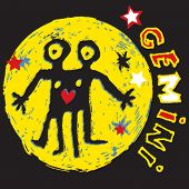 naive horoscope, hand drawn sign of the zodiac gemini