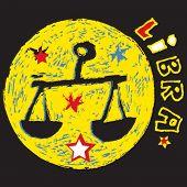 naive horoscope, hand drawn sign of the zodiac libra
