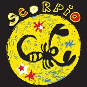 naive horoscope, hand drawn sign of the zodiac scorpio