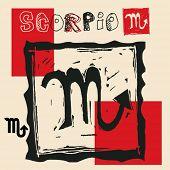 charcoal horoscope, hand drawn sign of the zodiac scorpio
