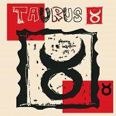 charcoal horoscope, hand drawn sign of the zodiac taurus