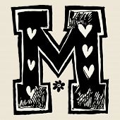 pic of letter m  - charcoal alphabet - JPG