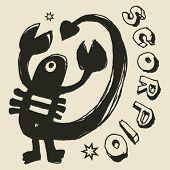 archaistic horoscope, hand drawn sign of the zodiac scorpio