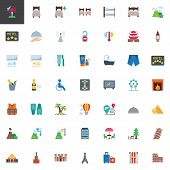 Travel And Vacation Elements Collection, Flat Icons Set, Colorful Symbols Pack Contains - Pisa Tower poster