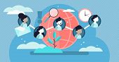 Social Community Vector Illustration. Flat Tiny Linked Persons Group Concept. Communication Media Pl poster