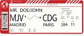 Red Vector Pattern Of A Boarding Pass Ticket. Concept Of Trip Or Travel. Boarding Pass Required For  poster
