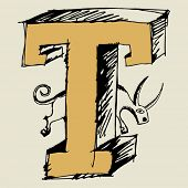 grotesque ABC, scribble letter T
