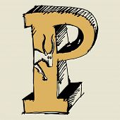 grotesque ABC, scribble letter P