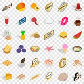 Nice Food Icons Set. Isometric Style Of 36 Nice Food Vector Icons For Web For Any Design poster