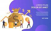 Capital Increasing Purple Presentation Illustration. People Increase Money Capital And Profit.  Busi poster