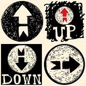 Resumen de iconos dibujados a mano, doodle hacia arriba y hacia abajo