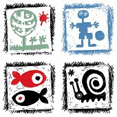 abstract hand drawn icons, child's doodles
