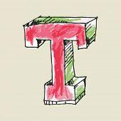 crayon alphabet, hand drawn letter T