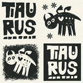 naive abstract horoscope, hand drawn sign of the zodiac taurus