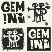 naive abstract horoscope, hand drawn sign of the zodiac gemini