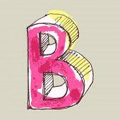 alfabeto infantil guache, letra de mão desenhada B