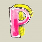 childlike gouache alphabet, hand drawn letter P