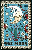 hand drawn tarot deck, major arcana, the raster version, the moon