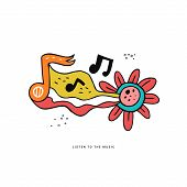 Rock N Roll Doodle Vector Color Illustration. Hippie Music Hand Drawn Clipart. Musical Notes, Flower poster