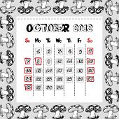 doodle calendar for year 2012, October