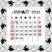 doodle calendar for year 2012, January