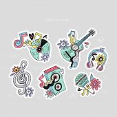 Hippie Music Doodle Stickers Set. Rock N Roll Cartoon Illustrations. Disco Party Sketch Patches. Gui poster