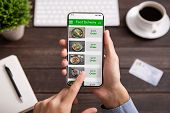 Food Delivery. Businessman Choosing Meal For Lunch In Takeaway Restaurant Service On Mobile Applicat poster