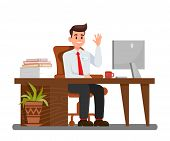 Man At Workplace In Office Vector Illustration. Office Worker Waving Hi Cartoon Character. Employer  poster