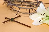 Crown Of Thorns, Crucifix And Easter White Lily
