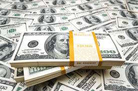 picture of one hundred dollar bill  - Background with many american hundred dollar bills - JPG