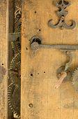 Retro Wooden Clock Grunge Mechanism Gear Closeup