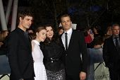 LOS ANGELES - NOV 12:  Max Irons, Stephenie Meyer, Saoirse Ronan, Jake Abel arrive to the 'The Twili