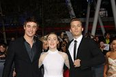 LOS ANGELES - NOV 12:  Max Irons, Saoirse Ronan, Jake Abel arrive to the 'The Twilight Saga: Breakin