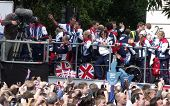 LONDON- SEPT 10: Crowds line the streets of London, to welcome the 2012 British Olympic team on thei