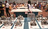 SUBANG JAYA - NOVEMBER 10: Competition robots await judges inspection at the World Robot Olympaid on